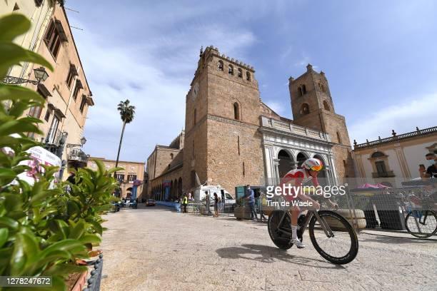 Jesper Hansen of Denmark and Team Cofidis Solutions Credits / Duomo di Monreale / Monte Caputo / Public / Fans / Cathedral / Landscape / during the...