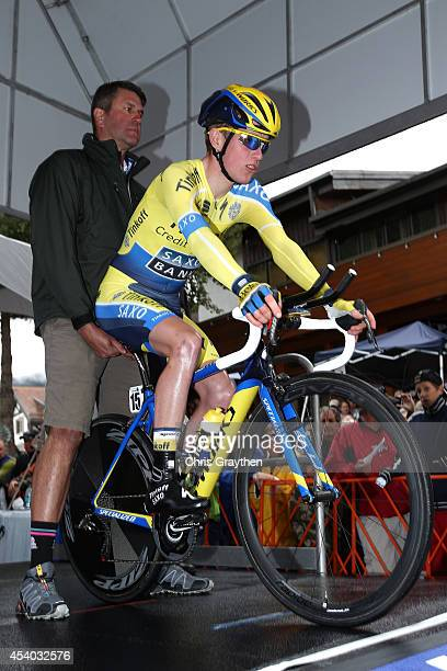 Jesper Hansen of Denmark riding for Tinkoff-Saxo competes in the individual time trial during Stage 6 of the 2014 USA Pro Challenge on August 23,...
