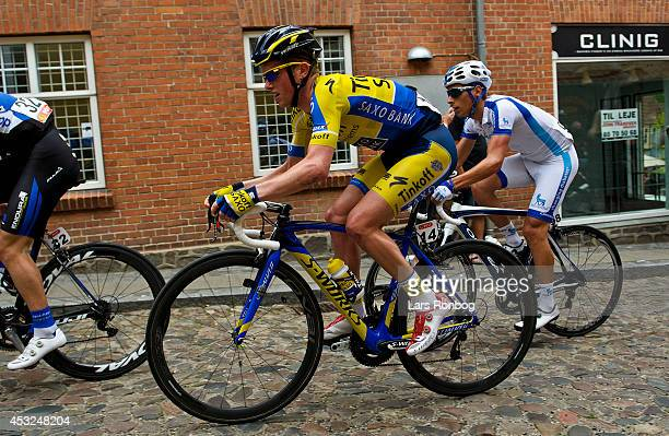 Jesper Hansen of Tinkoff Saxo rides on the cobbles in Mariager during stage one of the Tour of Denmark between Hobro and Mariager on August 6, 2014...