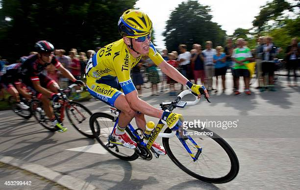 Jesper Hansen of Tinkoff Saxo turns a corner during stage two of the Tour of Denmark between Skive and Aarhus on August 7, 2014 in Aarhus, Denmark