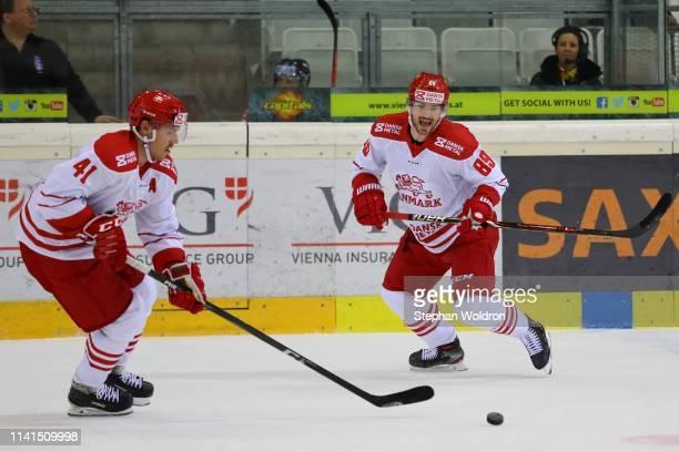 Jesper Jensen Aabo of Denmark and Mikkel Bodker of Denmark during the Austria v Denmark - Ice Hockey International Friendly at Erste Bank Arena on...
