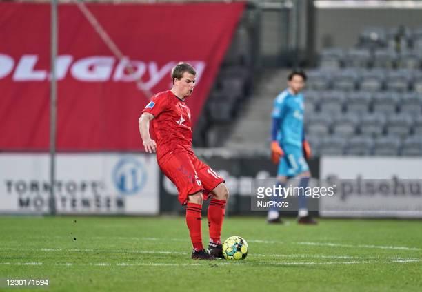 Jesper Juelsgaard of Aarhus GF during the Superliga match between AC Horsens versus Aarhus GF at Casa Arena Horsens , Horsens, Denmark on December...