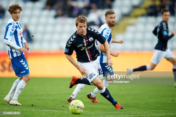 Jesper Juelsgard of AGF Arhus controls the ball during the Danish Superliga match between OB Odense and AGF Arhus at Nature Energy Park on October 06...
