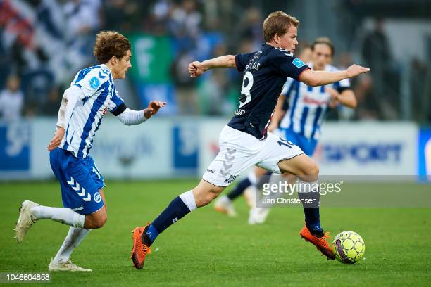 Jesper Juelsgard of AGF Arhus in action during the Danish Superliga match between OB Odense and AGF Arhus at Nature Energy Park on October 06 2018 in...