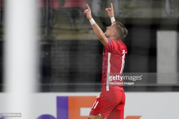 Jesper Karlsson of AZ Alkmaar celebrates 3-0 during the UEFA Europa League match between AZ Alkmaar v Rijeka at the AFAS Stadium on October 29, 2020...