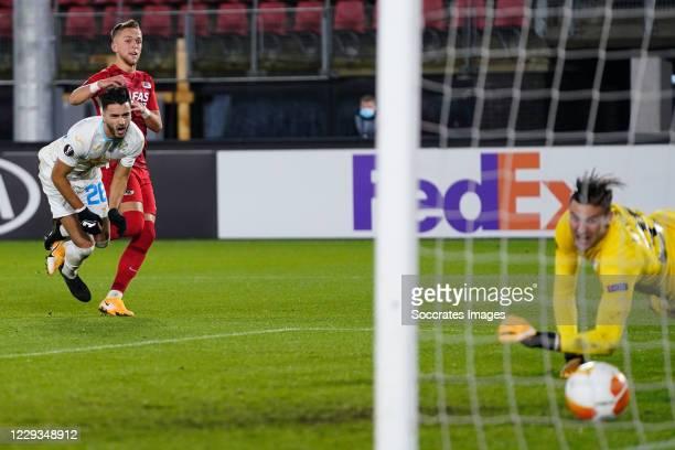 Jesper Karlsson of AZ Alkmaar scores 3-0 during the UEFA Europa League match between AZ Alkmaar v Rijeka at the AFAS Stadium on October 29, 2020 in...