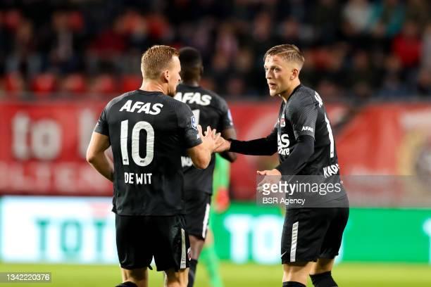 Jesper Karlsson of AZ celebrates after scoring his sides first goal during the Dutch Eredivisie match between FC Twente and AZ at De Grolsch Veste on...