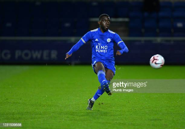 Jesper Kutshienza of Leicester City during Leicester City v Sheffield Wednesday: FA Youth Cup at Leicester City Training Ground on March 5, 2021 in...