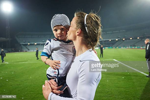 Jesper Lange of AGF Aarhus with his son after the Danish Cup DBU Pokalen semifinal match between AGF Aarhus and AaB Aalborg at Ceres Park on April 21...
