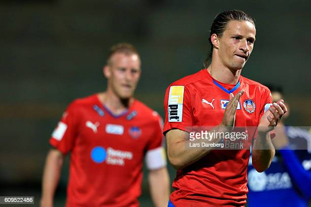 Jesper Lange of Helsingborgs IF during the Allsvenskan match between Helsingborgs IF and GIF Sundsvall at Olympia Stadium on September 21 2016 in...