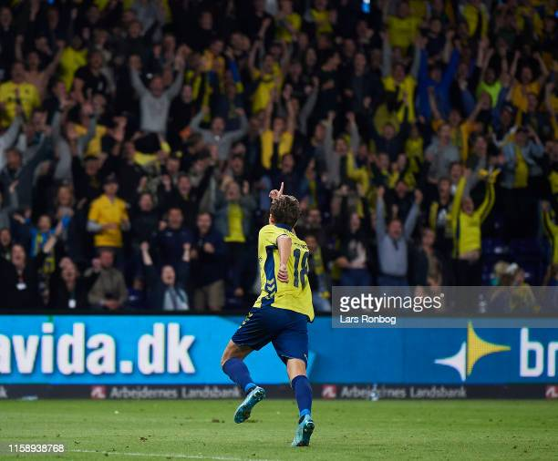 Jesper Lindstrom of Brondby IF celebrates after scoring their fourth goal during the UEFA Europa League qual. Match between Brondby IF and Lechia...