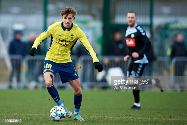 Jesper Lindstrom of Brondby IF in action during the testmatch between Brondby IF and SonderjyskE at Brondby Stadion on February 10, 2020 in Brondby,...