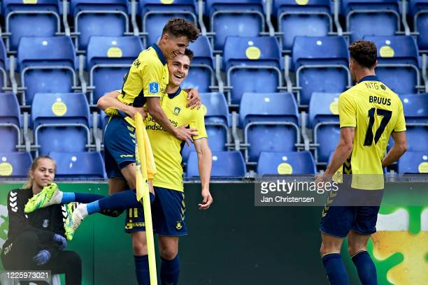 Jesper Lindstrom of Brondby IF, Mikael Uhre of Brondby IF and Andreas Bruus of Brondby IF celebrating the 2-0 goal from Mikael Uhre during the Danish...