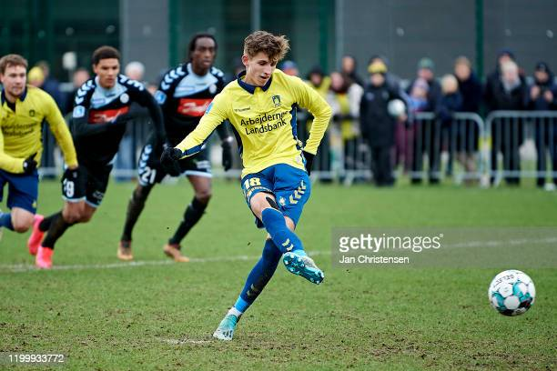 Jesper Lindstrom of Brondby IF scores the 1-0 penalty goal during the testmatch between Brondby IF and SonderjyskE at Brondby Stadion on February 10,...
