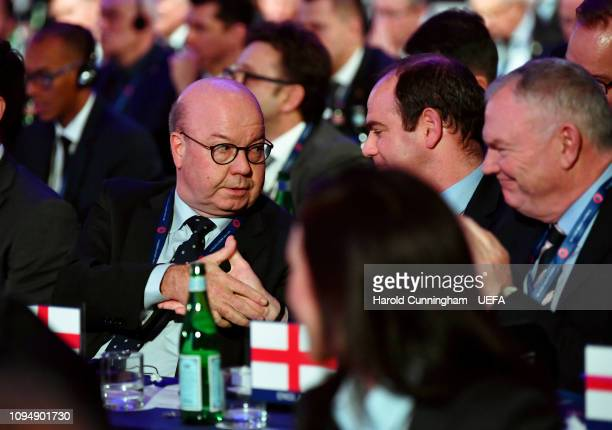 Jesper Moller Christensen of Denmark celebrates after being announced as a newly elected member of the UEFA Executive Committee during the UEFA...