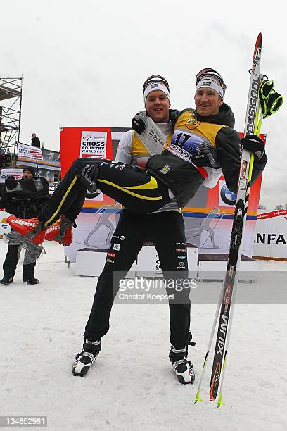 Jesper Mordin and Teodor Peterson of Sweden celebrate their victory of the 6x 1,7 kilometer men's team sprint of the FIS Cross Country World Cup at...