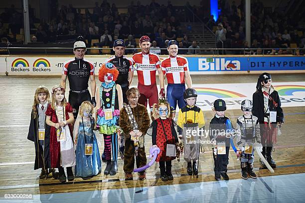 Jesper Morkov Lasse Norman Hansen Marc Hester Michael Morkov pose for best fastelavn costume for kids during day four at the Copenhagen Six Days race...