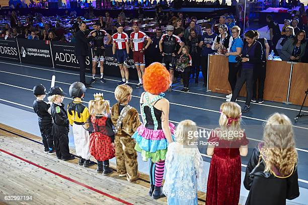 Jesper Morkov Lasse Norman Hansen Michael Morkov and Marc Hester vote for the best Fastelavn costume for kids competition during day four at the...