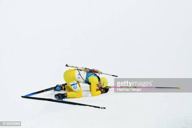Jesper Nelin of Sweden reacts at the finish during the Men's 20km Individual Biathlon at Alpensia Biathlon Centre on February 15 2018 in...