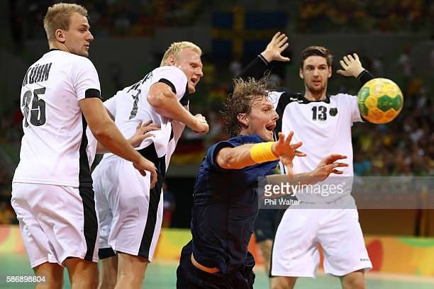 Jesper Nielsen of Sweden tries to score during the Men's Preliminary Group B match between Sweden and Germany at on Day 2 of the Rio 2016 Olympic...