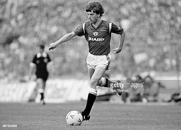 Jesper Olsen of Manchester United in action against Everton during the FA Cup Final at Wembley Stadium London on 18th May 1985 Manchester United beat...
