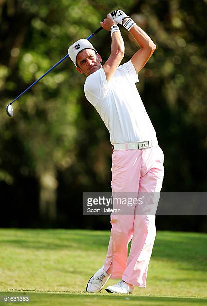 Jesper Parnevik of Sweden hits his tee shot on the 9th tee on the Copperhead Course at the Innisbrook Resort during the final round of the Chrysler...
