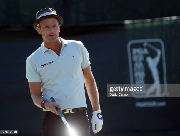Jesper Parnevik of Sweden lines up a par putt on the 18th hole on the Magnolia Course during the third round of The Childrens Miracle Network Classic...