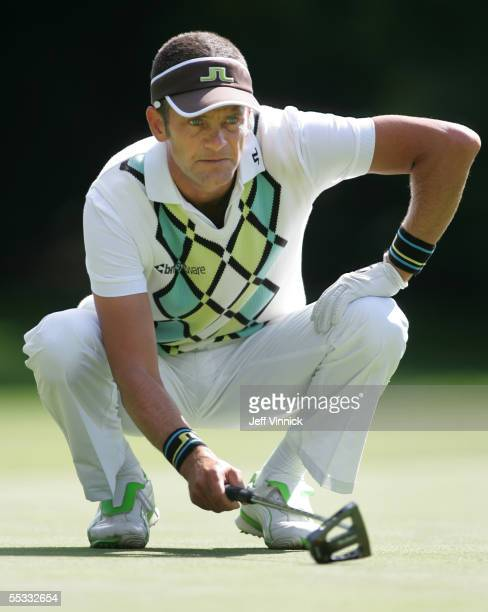 Jesper Parnevik of Sweden lines up a putt during the third round of the Bell Canadian Open on September 10, 2005 in Vancouver, British Columbia.