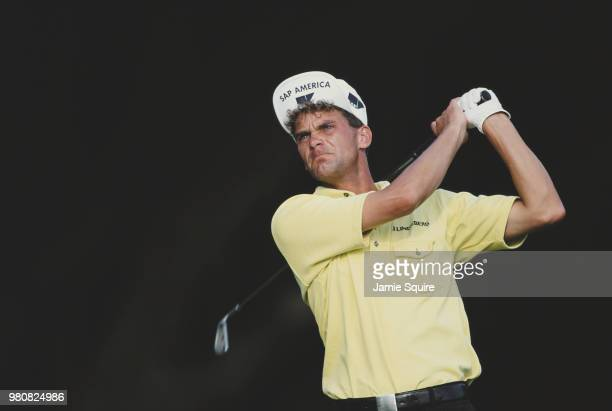 Jesper Parnevik of Sweden playing with the upturned bill on his hat during the DoralRyder Open golf tournament on 8 March 1997 at the Doral Golf...