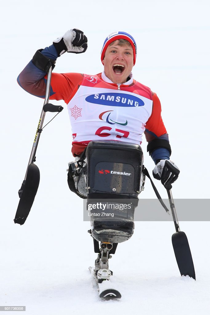 Jesper Pedersen of Norway celebrates at the victory ceremony for Men's Giant Slalom Run - Sitting at Alpensia Biathlon Centre on day five of the PyeongChang 2018 Paralympic Games on March 14, 2018 in Pyeongchang-gun, South Korea.