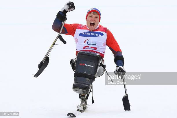Jesper Pedersen of Norway celebrates at the victory ceremony for Men's Giant Slalom Run Sitting at Alpensia Biathlon Centre on day five of the...