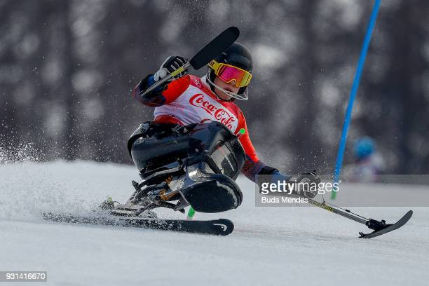 Jesper Pedersen of Norway competes in the Men's Super Combined Sitting Alpine Skiing event at Jeongseon Alpine Centre during day four of the...