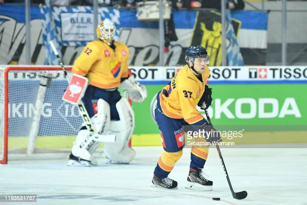 Jesper Pettersson of Djurgarden Stockholm in action during the Champions Hockey League quarter finals second leg match between EHC Red Bull Muenchen...