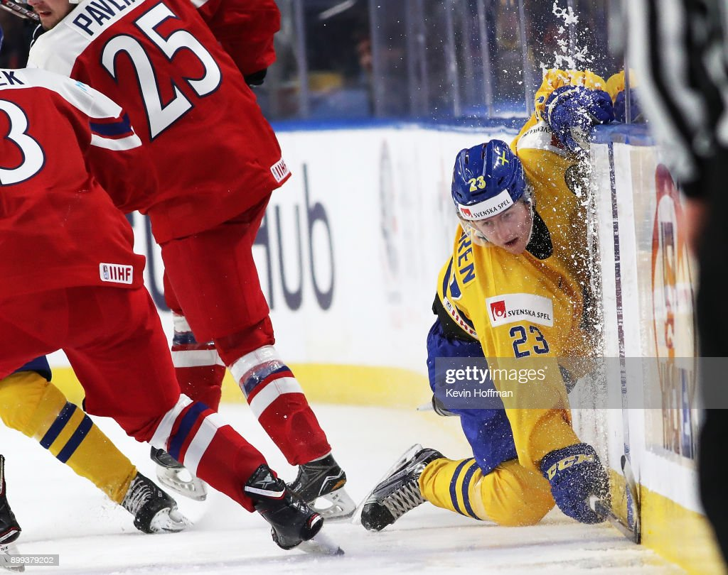 Jesper Sellgren #23 of Sweden misses a check against Czech Republic in the third period during the IIHF World Junior Championship at KeyBank Center on December 28, 2017 in Buffalo, New York. Sweden beat Czech Republic 3-1.