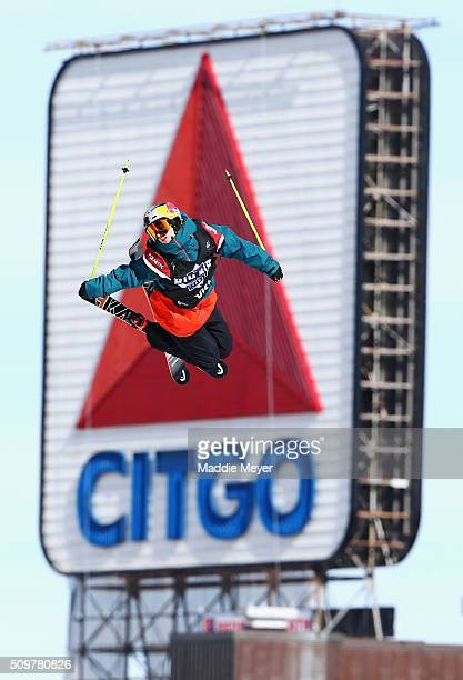 Jesper Tjader of Sweden makes a practice run during Polartec Big Air at Fenway Day 2 at Fenway Park on February 12 2016 in Boston Massachusetts