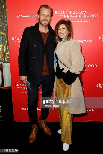 Jesper Vesterstrøm and Jennifer Esposito attend A Beautiful Day In The Neighborhood New York Screening at Henry R Luce Auditorium at Brookfield Place...