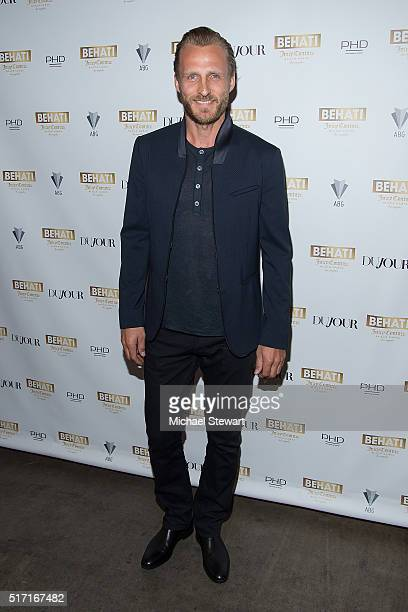 Jesper Vesterstrom attends supermodel Behati Prinsloo celebrates the launch of Behati Juicy Couture Black Label at Dream Downtown on March 23 2016 in...