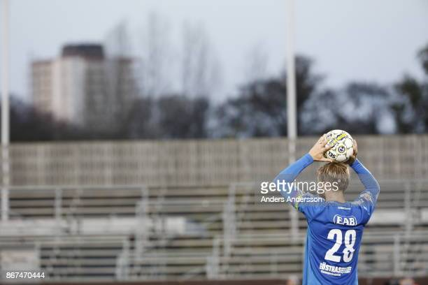 Jesper Westerberg of Halmstad BK makes a throw in during the Allsvenskan match between Halmstad BK and Athletic FC Eskilstuna at Orjans Vall on...