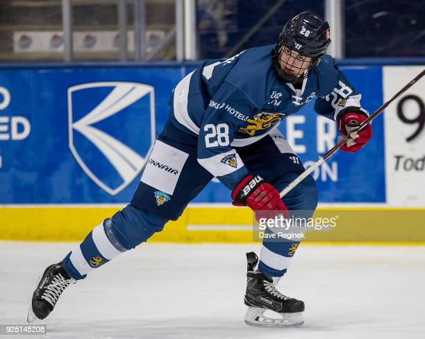 Jesperi Kotkaniemi of the Finland Nationals follows the play against the Russian Nationals during the 2018 Under18 Five Nations Tournament game at...
