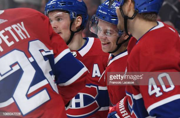 Jesperi Kotkaniemi of the Montreal Canadiens celebrates after scoring a goal the Washington Capitals in the NHL game at the Bell Centre on November 1...