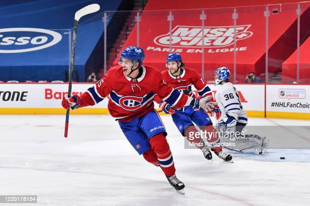 Jesperi Kotkaniemi of the Montreal Canadiens celebrates his goal during overtime against the Toronto Maple Leafs in Game Six of the First Round of...