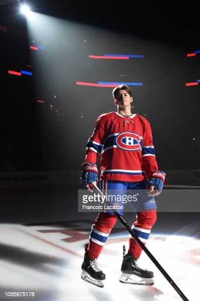 Jesperi Kotkaniemi of the Montreal Canadiens during the pre game ceremony prior to the NHL match against the Los Angeles Kings in the NHL game at the...