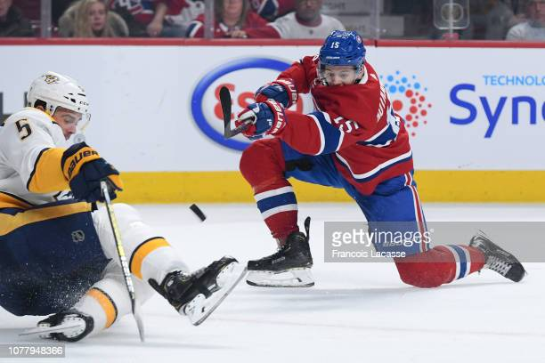 Jesperi Kotkaniemi of the Montreal Canadiens fires a shot against the Nashville Predators in the NHL game at the Bell Centre on January 5 2019 in...