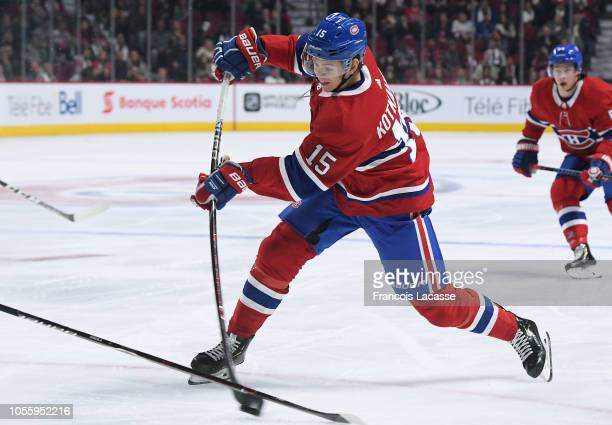 Jesperi Kotkaniemi of the Montreal Canadiens fires a slap shot against the Pittsburgh Penguins in the NHL game at the Bell Centre on October 13 2018...