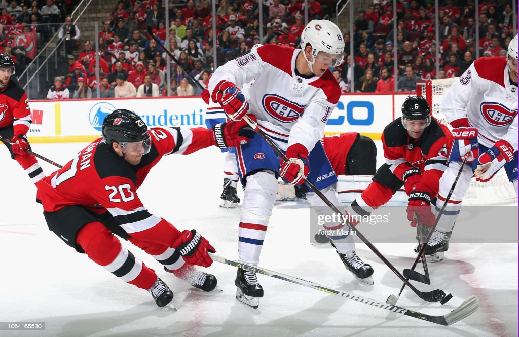 designer fashion 523be 9a896 Jesperi Kotkaniemi of the Montreal Canadiens plays the puck ...