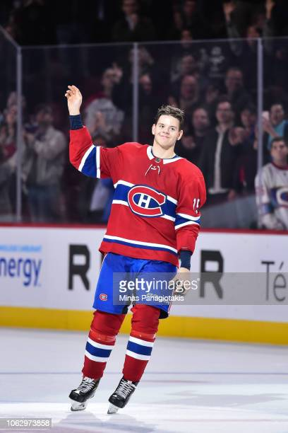 Jesperi Kotkaniemi of the Montreal Canadiens salutes the fans against the Washington Capitals during the NHL game at the Bell Centre on November 1...