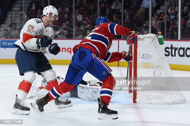 Jesperi Kotkaniemi of the Montreal Canadiens scores a goal on goaltender James Reimer of the Florida Panthers in the NHL game at the Bell Centre on...
