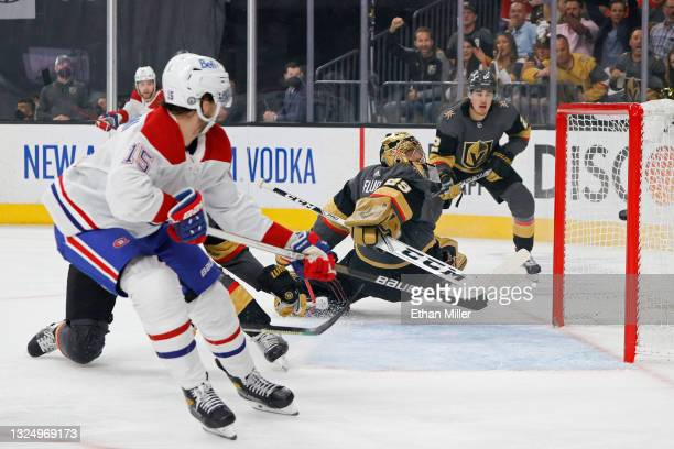 Jesperi Kotkaniemi of the Montreal Canadiens scores a goal past Marc-Andre Fleury of the Vegas Golden Knights during the first period in Game Five of...