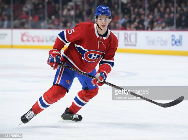 Jesperi Kotkaniemi of the Montreal Canadiens skates against the Columbus Blue Jackets in the NHL game at the Bell Centre on February 19 2019 in...