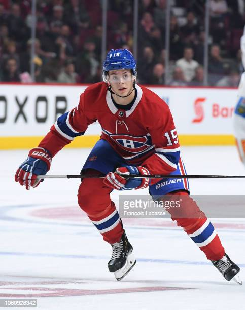 Jesperi Kotkaniemi of the Montreal Canadiens skates against the Calgary Flames in the NHL game at the Bell Centre on October 23 2018 in Montreal...
